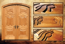 Entrance double door, with arch, wood, CNC, millwork, details