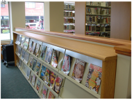 Library, magazine shelving, bookshelves, CNC
