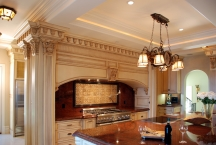 Traditional kitchen, columns, CNC, millwork