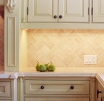 Framed beadwork cabinets, wood, CNC, kitchen