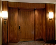 Entryway, walnut, doors, paneling, wood, CNC