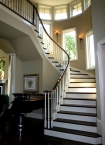 Curved stairway, millwork, CNC